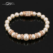 Mother Pearl Beads CZ Pave Charms Bracelet Bangle 18K Rose Gold/Platinum Plated
