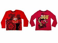 Kids Boys Disney Cars Lightning McQueen Long Sleeve T-Shirt Top Size 2 - 8 Years