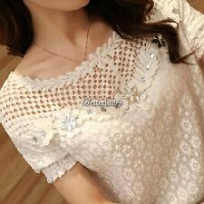 Fashion Korean Women Chiffon Slim Tops Short Sleeve Lace Tee Shirt Blouse M-XXL