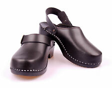 Mens hand made clogs genuine natural leather wooden sole orthopedic
