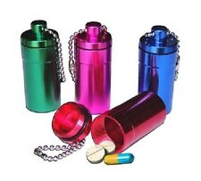 Medicine Pill Box Tube Key Chain Container Air Tight Moisture Proof Aluminum