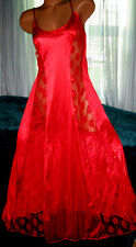 Red Nylon with Lace Panels 1X 3X Womens Nightgown Plus Size Gowns Semi Sheer