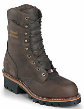 Chippewa Men Waterproof Super Logger Work Boots Made In USA Brown 25406 Wide (E)