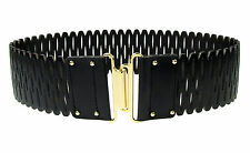 VINCE CAMUTO Gold Interlock Perforated Leather Waist Wide Belt - Black $48
