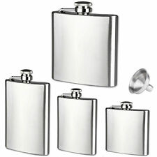 6 8 10 18 oz Liquor Stainless Steel Pocket Hip Flask Screw Cap with Funnel