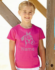 Personalised Horse Face Rhinestone / Diamanté Embellished T shirt gift for girls