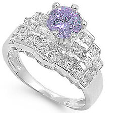 925 Sterling Silver Solitaire Round Amethyst CZ Wedding Original Ring Size 3-11