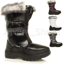 WOMENS LADIES ZIP WINTER SNOW PADDED FUR LINED SKI MOON CALF FASHION BOOTS SIZE