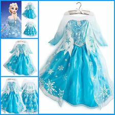 Hot ! New Frozen Elsa Anna Costume Princess Girls Child Fancy Outfit Long Dress.