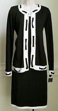 $128 Leslie Fay Black/White Sweater Dress, Size-S, NWT