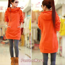 Korean Style Women's Turtle Neck Hooded Hoodie With Pouch Pocket Long Type