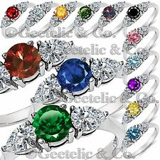 Stainless Steel Round & Pear Shaped 3 CZ Stone Engagement Promise Ring Size 5-11