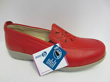 Ladies Red Leather Slip On Easy B Shoes UK Size 3 - 8  4E AND 6E Fitting Galway