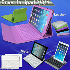 Leather Aluminum Keyboard Case Cover  For Apple iPad 2 3 4 Bluetooth Wireless