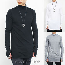 Mens Handwarmer Long Back Hem High Neck Long Sleeve T Shirt 3 Colors,GENTLERSHOP
