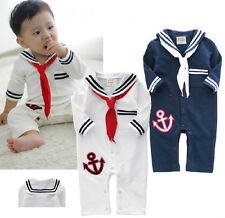 Baby Toddlers Boy Clothes, Sailor Marine Outfit White Navy Outfit, 6M 1T 2T New