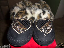 WOMEN'S GUESS SHOES KIMBERLEE DIVA SLIPPERS! LADIES FUR & SUEDE HOUSE SHOES