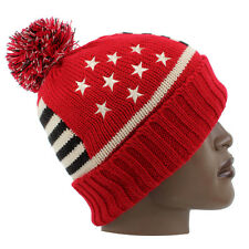Streetwear American Flag Knitted Pom Pom Ski Beanie Hat Hip Is Hop Money Time