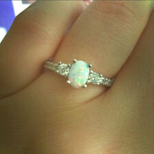 925 Sterling Silver White Lab Opal Clear CZ 3 Stone Halo Promise Ring Size 5-10