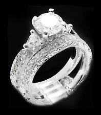 USA TOP GRADE 14K WG P 3-STONES 2CT 1CT DESIGNER SIMULATED DIAMOND RING SET