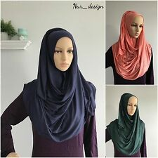 Women MAXI Cotton Jersey Stretch Soft 180x80 size Scarf/Wrap Hijab Plain color.