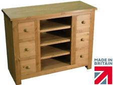 Solid Pine TV Stand, Handcrafted Contemporary 6 Drawer Media Storage Unit