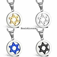 Stainless Steel Six-Pointed Star of David Pendant Necklace Men's Women's Gift