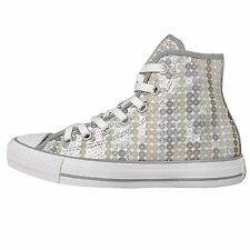 Converse Chuck Taylor All Star Silver Womens Fashion Sneakers Casual Shoes