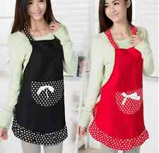 Cute Apron Canvas Women's Apron With bowknot Pockets Gift Cooking Restaurant New