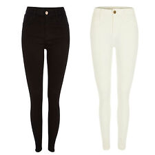 New Ladies Skinny High Waisted Ankle Jeans Jeggings Black White Size 6 8 10 12