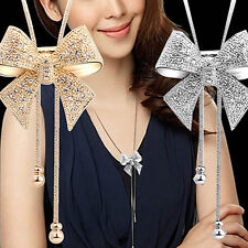 Fashion Luxury Crystal Bowknot Pendant Long Necklace Rhinestone Butterfly Chain