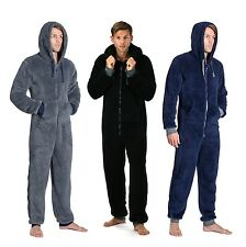 ONEZEE Mens Onesie Snuggle Fleece Super Plain Colour Soft Hooded Warm Nightwear