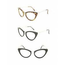 Retro Vintage Fashion Style Clear Lens Cat Eye Glasses Frame Black Tortoiseshell