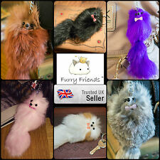 *UK SALE* 3 FOR 2! Real Fluffy Soft Fur Keyring Bag Mobile Charm Retro Fox Gift