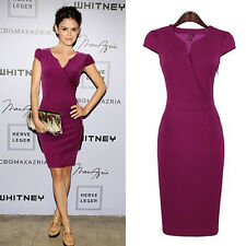 Victoria Beckham Herve Purple bodycon office party dress.Celebrity catwalk.