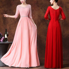 Hot Wedding Women Long Lace Bridesmaid Evening Formal Party Ball Gown Prom Dress