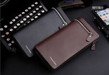 new Men's Faux Leather Business Zipper Long Wallet Card Holder Pockets Purse