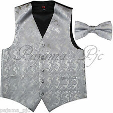 SILVER XS to 6XL Paisley Tuxedo Suit Dress Vest Waistcoat & Bow tie Wedding Prom