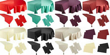 NEW FAUX SILK FULL RANGE OF TABLECLOTHS & ACCESSORIES CHOICE OF 7 COLOURS