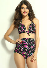 Cutest Retro Swimsuit Bikini Swimwear Paisley Floral High Waist Set HOT!