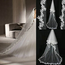 Cathedral White/Ivory Long Wedding Veil In Stock Tulle Bridal Veil Cheap Lace