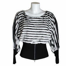 Frank Lyman Ladies Designer Black White Stripe Ruffle Pleat Long Sleeve Zip Top