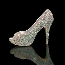 Marc Defang AB Crystals Checkered Texture Luxury Bridal Wedding Heels, Shoes