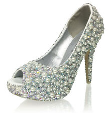 Marc Defang AB Crystals Mix Ivory pearls Luxury Bridal wedding heels shoes pumps