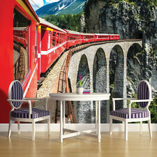 PHOTO WALLPAPER MURAL HOME DECOR ORIENT EXPRESS TRAIN ALPS VALLEY IMAGE 1338VE