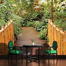 PHOTO WALL MURAL WALLPAPER WALLCOVERING HOME DECOR GARDEN BAMBOO BRIDGE 183VE