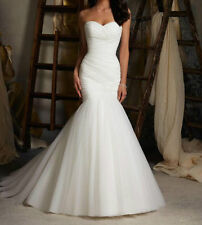 Sweetheart Mermaid Tulle Wedding Dress Strapless Bridal Gowns Ivory wedding gown