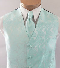 Aqua Green Men's Paisley Tuxedo Suit Dress Vest Waistcoat and Neck tie Wedding