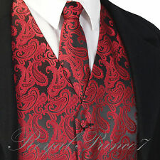 BLACK / RED New Men's Paisley Tuxedo Dress Vest Waistcoat & Neck tie wedding 20K