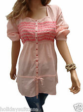 NEW LADIES WOMANS LONG SUMMER SEXY GYPSY BOHO TOP TUNIC CORAL PLUS SIZE 16-18 UK